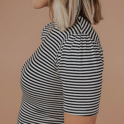 Puff Sleeve Tee, Black Stripe