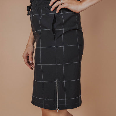 Black Windowpane Going Places Dress