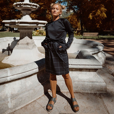 Black Windowpane Jetsetter Skirt