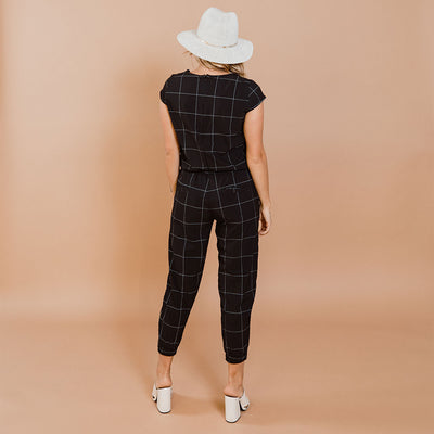 Black Windowpane Jumpsuit
