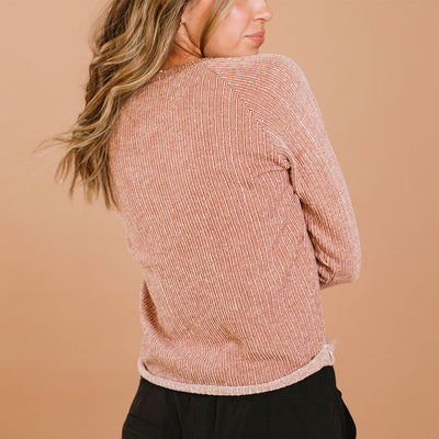 Channel Stripe Crew Sweater, Rust