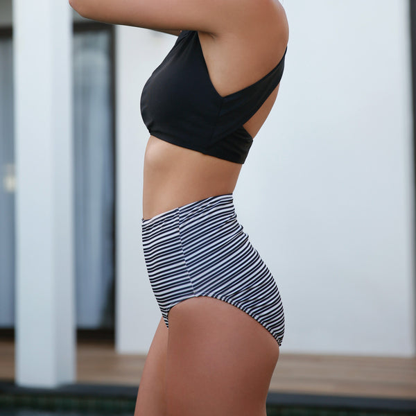 Channel Stripe High-Waisted Swim Bottoms