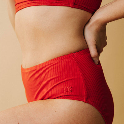 Crimson Groove High-Waisted Bottoms
