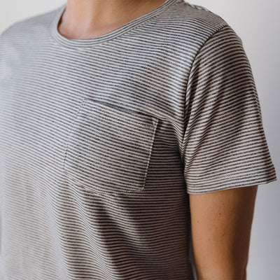 Basic Tee, Grey Micro Stripe