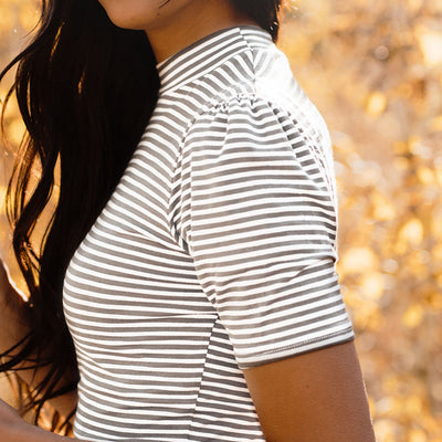 Puff Sleeve Tee, Grey Stripe