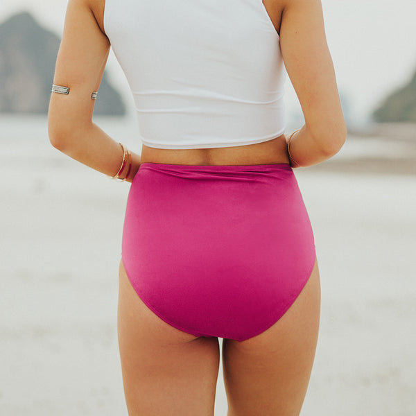 Magenta High-Waisted Swim Bottoms