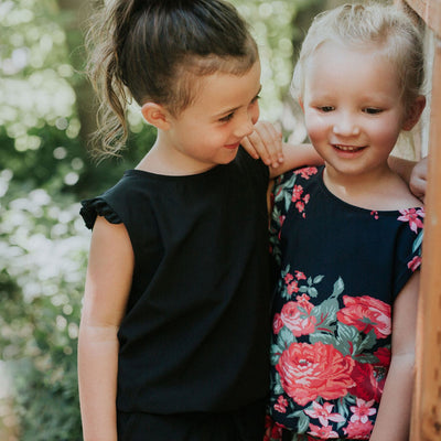 Mini Black Romper for Kids
