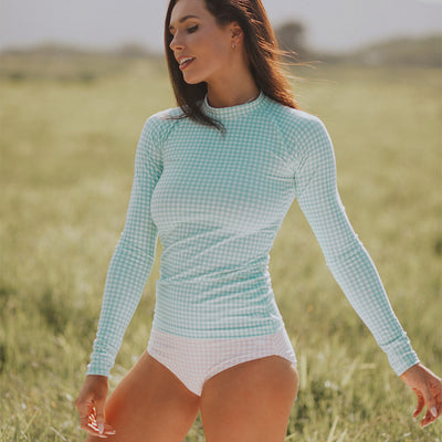 Mint Check Long Sleeve Rash Guard