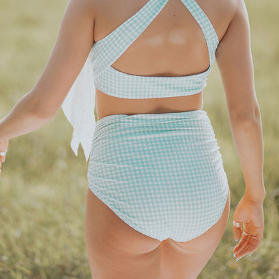 Mint Check Ruched High-Waisted Bottoms