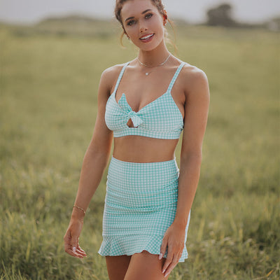 Mint Check High-Waisted Swim Skirt
