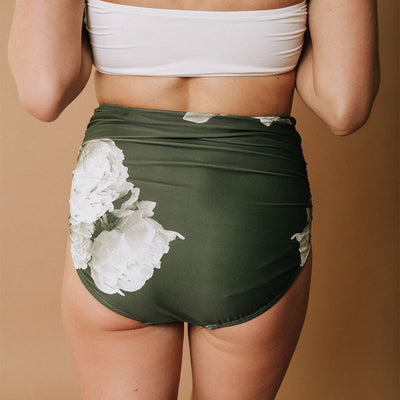 Peonies Ruched High-Waisted Bottoms
