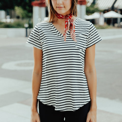 Albion Basic V Neck Tee, Sailor Stripe