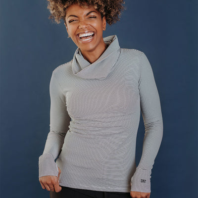 Sweet Stripe Cowl-Neck Top