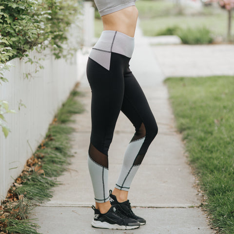 Albion Sweet Stripe Mesh High-Waisted Leggings