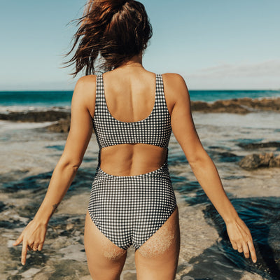 Black Check Top Knot One-Piece