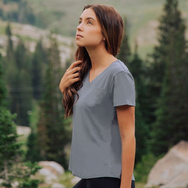 Mineral Blue Basic V Neck Tee