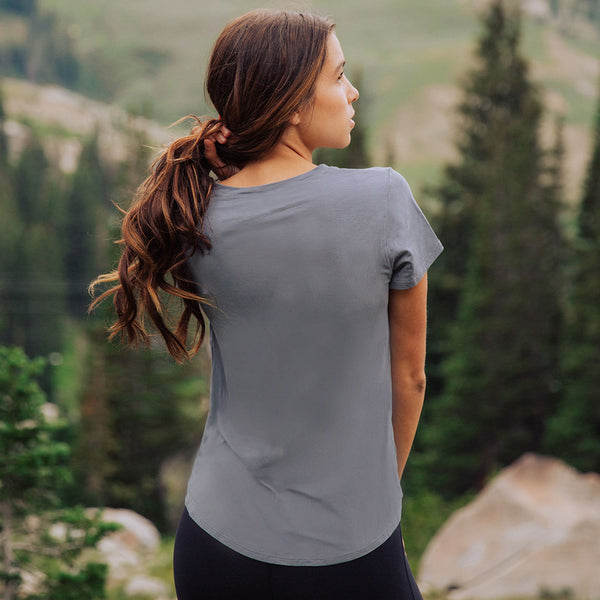 Basic V Neck Tee in Mineral Blue for Women