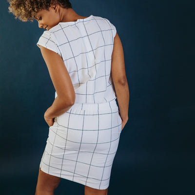 White Windowpane Going Places Dress