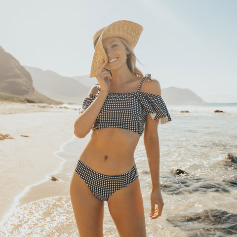 Wave Crop Top, Black Check