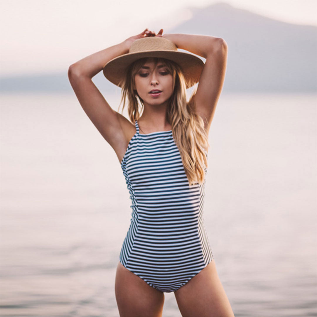 841e6ffb84 Striped One Piece Swimsuit - Albion Fit