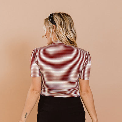 Puff Sleeve Tee, Wine Stripe