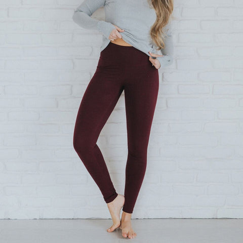 High-Waisted Wine Leggings - Albion - 1