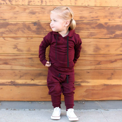 Mini At Ease Joggers, Wine - Albion - 2