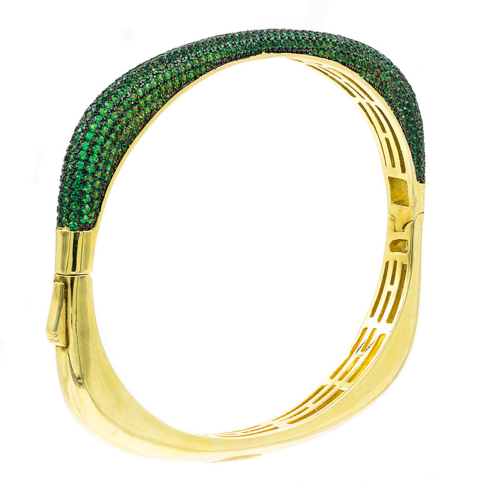 BA2047G-G STERLING SILVER 925 GOLD PLATED FINISH EMERALD COLOR CZ BANGLE