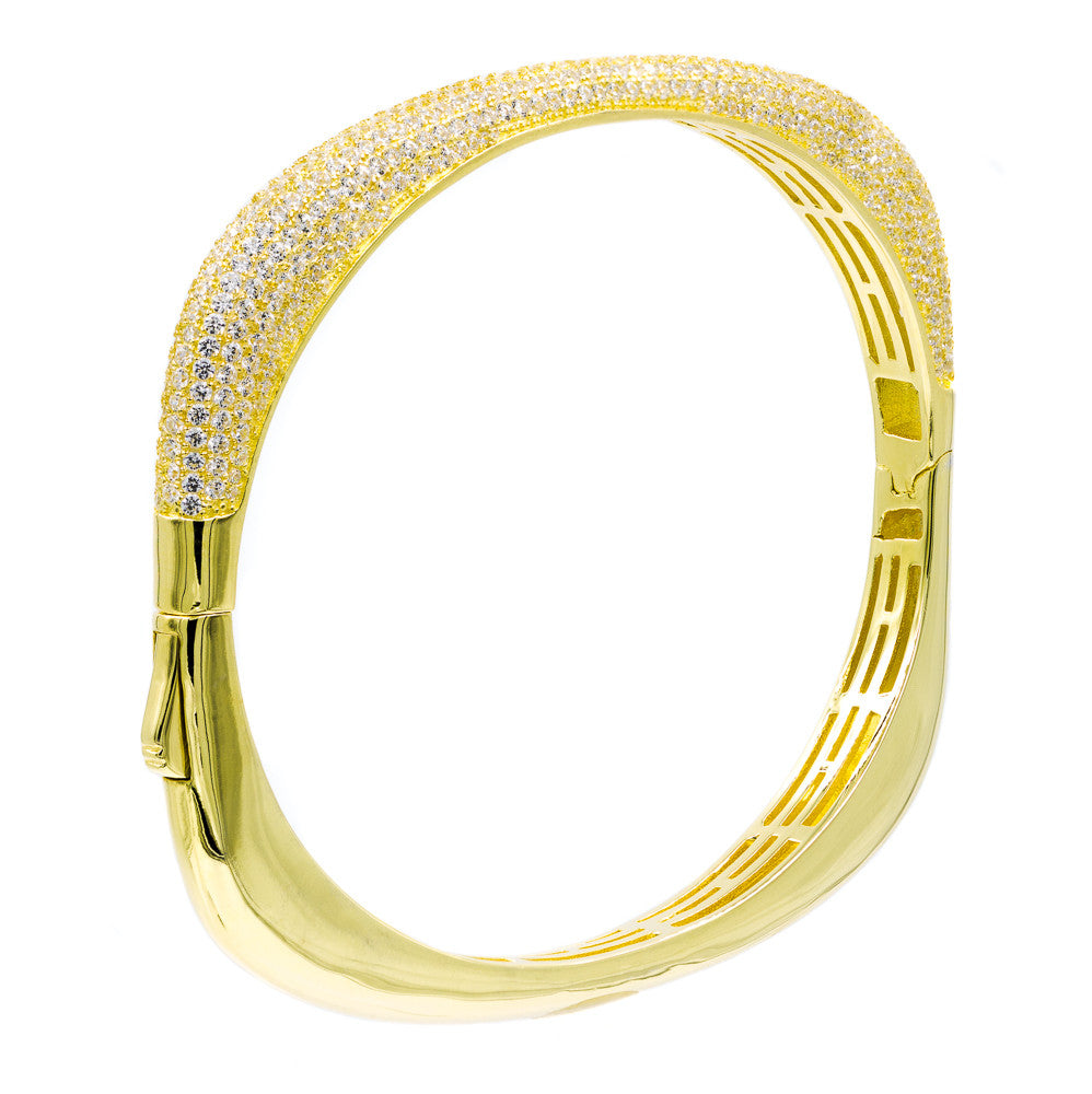 BA2047W-G STERLING SILVER 925 GOLD PLATED FINISH CLEAR CZ BANGLE
