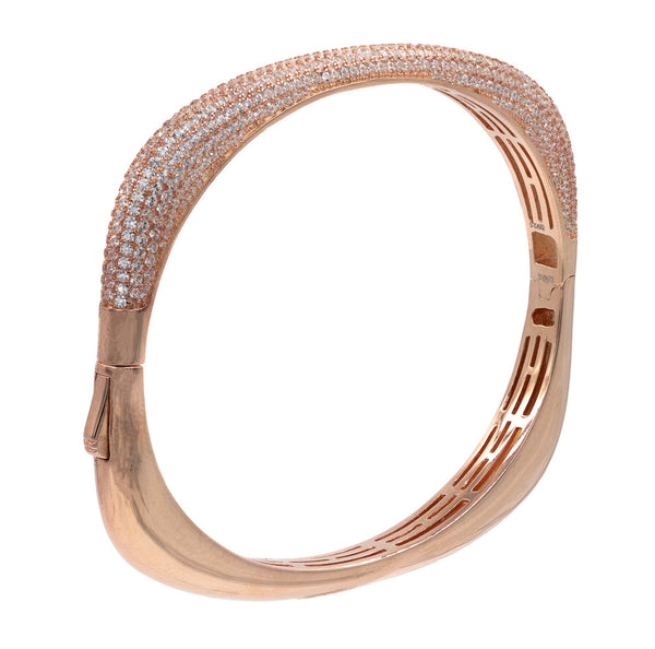BA2047W-R  STERLING SILVER 925 ROSE GOLD PLATED FINISH CLEAR CZ BANGLE