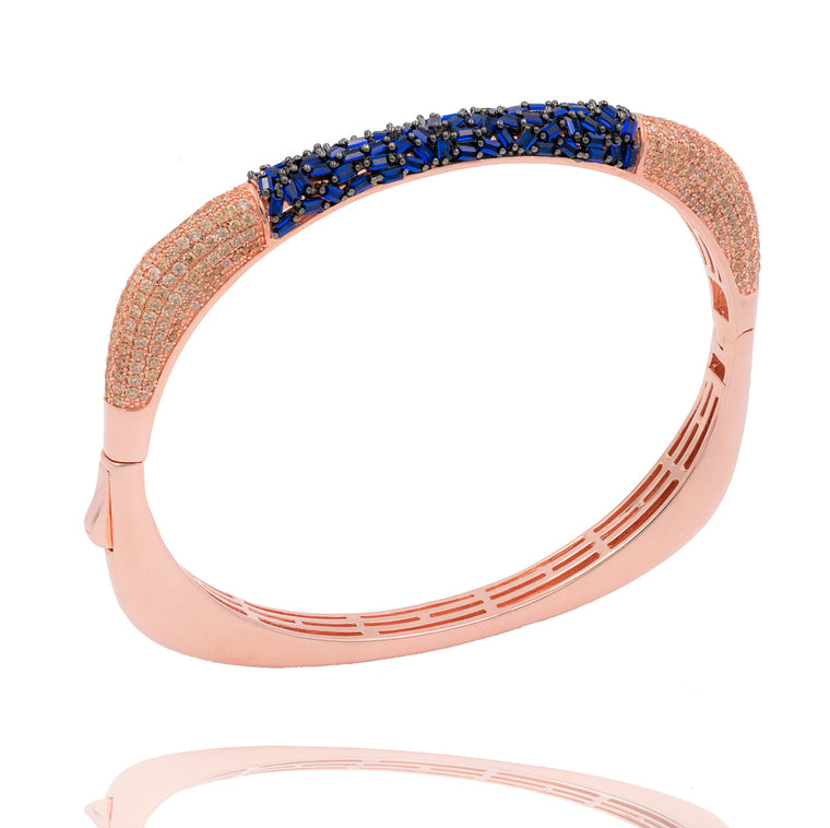 BA2224NC-R STERLING SILVER 925 GOLD PLATED FINISH SAPPHIRE COLOR BAGUETTE AND CZ BANGLE