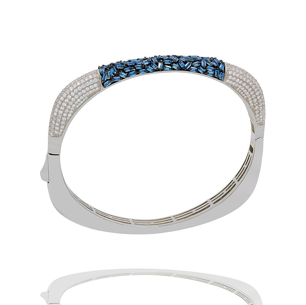BA2224N STERLING SILVER 925 RHODIUM PLATED FINISH LIGHT BLUE BAGUETTE AND CZ BANGLE