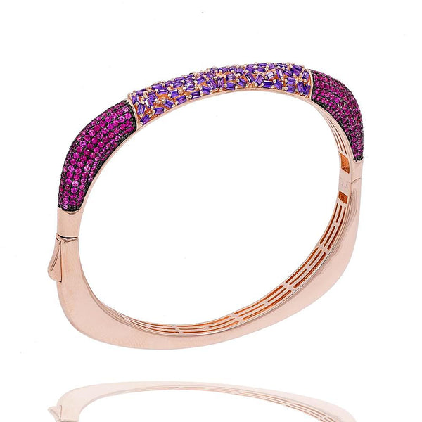 BA2224PR-R STERLING SILVER 925 ROSE GOLD PLATED FINISH LAVENDER COLOR BAGUETTE AND CZ BANGLE