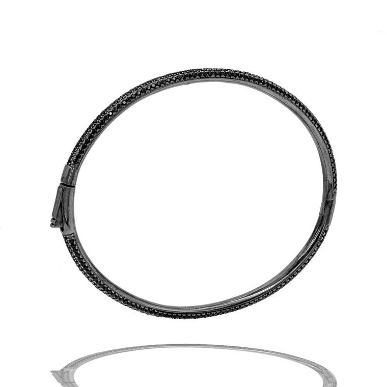 BA2350B-B STERLING SILVER 925 BLACK RHODIUM PLATED FINISH BLACK CZ BANGLE
