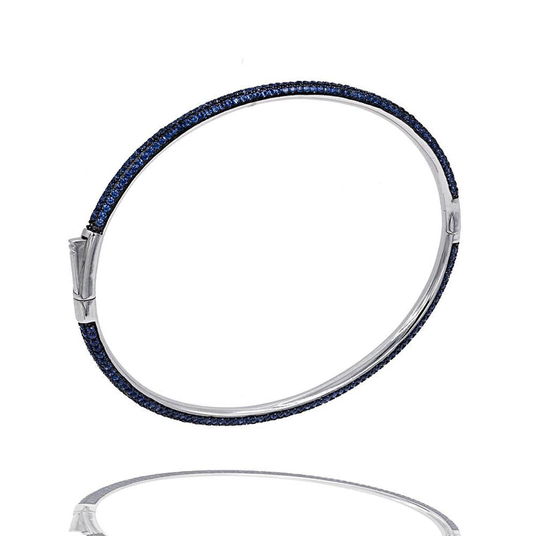 BA2350N STERLING SILVER 925 RHODIUM PLATED FINISH SAPPHIRE CZ BANGLE