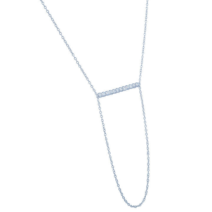 ZDN42 STERLING SILVER 925 RHODIUM PLATED FINISH BAR NECKLACE WITH CZ