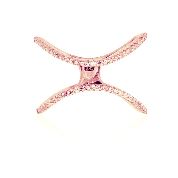ZDR511-RG  STERLING SILVER 925 ROSE GOLD PLATED CZ OPEN RING DESIGN