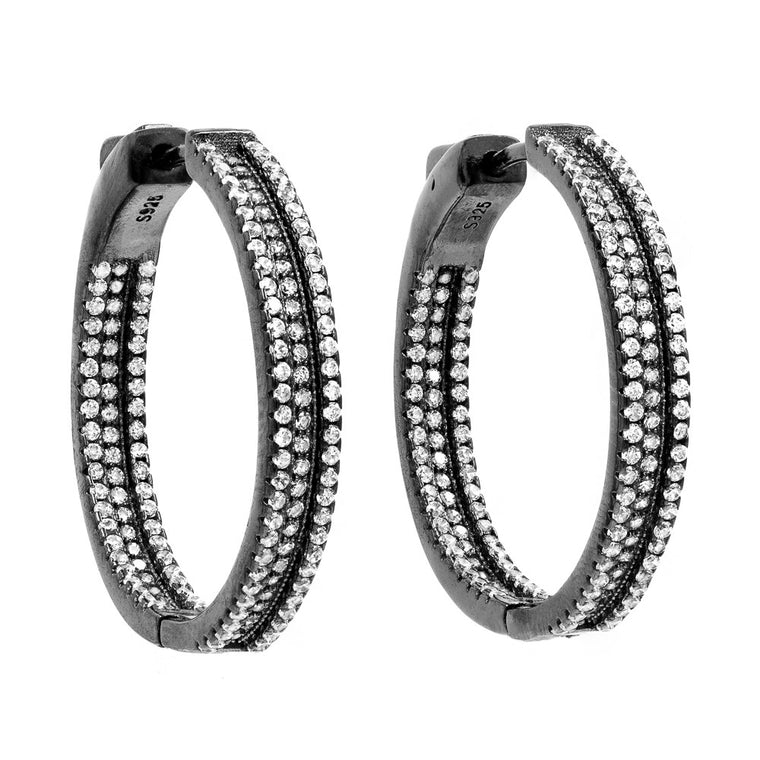 ER1699W-B STERLING SILVER 925 BLACK RHODIUM PLATED WHITE CZ HOOP EARRINGS 30 MM