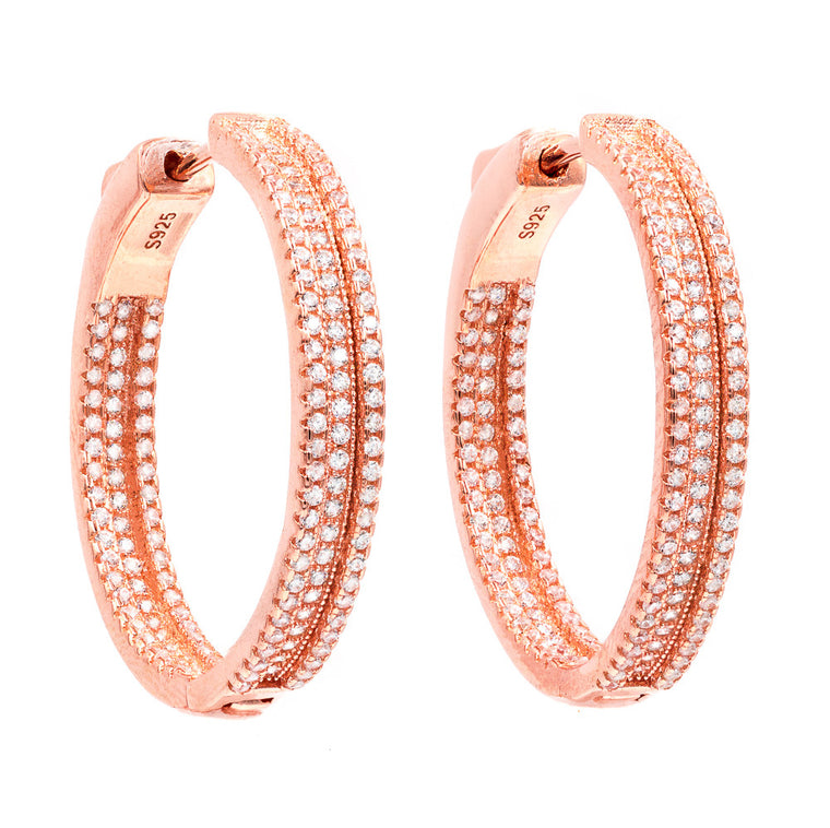 ER1699W-R STERLING SILVER 925 ROSE GOLD PLATED FINISH WHITE CZ HOOP EARRINGS 30 MM