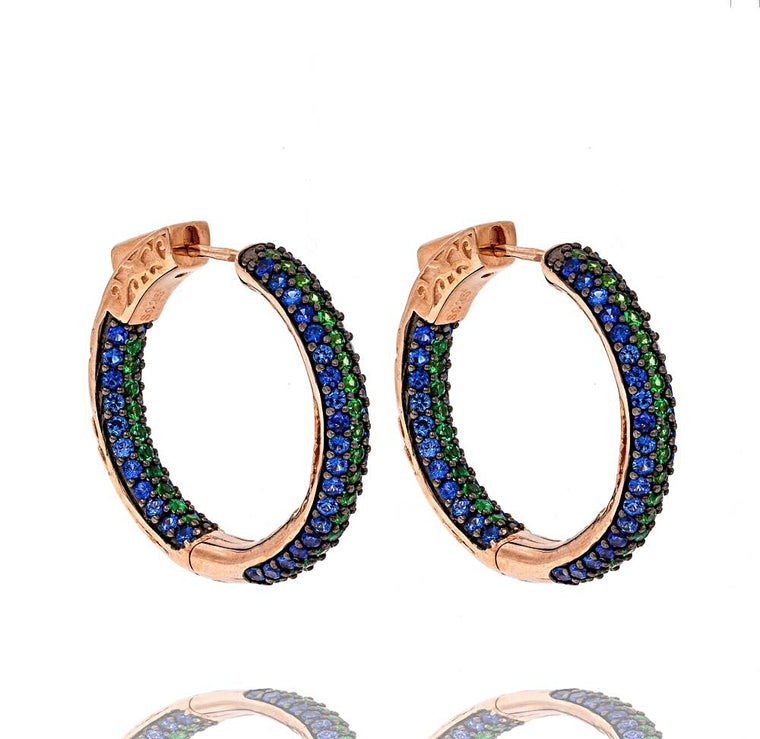 ER1860NG-R STERLING SILVER 925 ROSE GOLD PLATED FINISH TWO COLOR CZ HOOPS 26MM