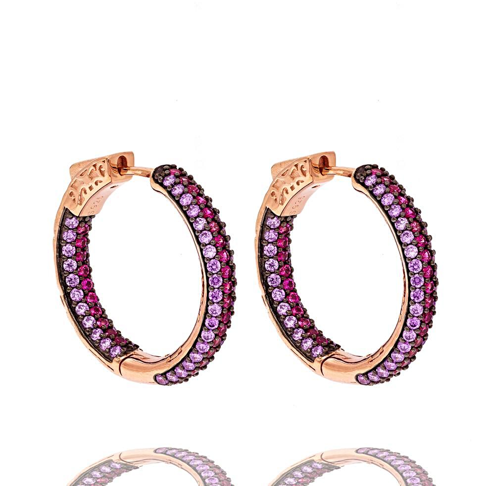 ER1860PR-R  STERLING SILVER 925 ROSE GOLD PLATED FINISH TWO COLOR CZ HOOPS 26MM