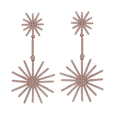 ER1877W-R STERLING SILVER 925 ROSE GOLD PLATED FIRE BURST DESIGN WHITE CZ DROP EARRINGS