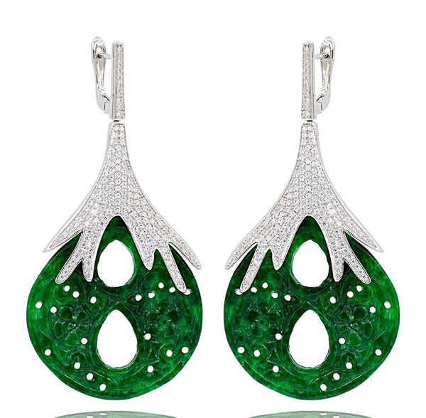 ER1882 STERLING SILVER 925 RHODIUM PLATED FINISH GREEN JADE DROP EARRINGS