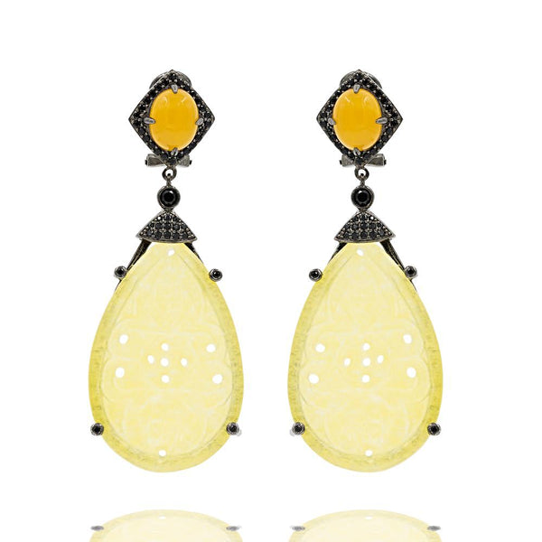 ER1889Y-G STERLING SILVER 925 BLACK RHODIUM PLATED FINISH YELLOW JADE DROP FANCY EARRINGS