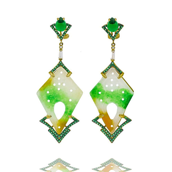 ER1891G-G STERLING SILVER 925 GOLD PLATED GREEN JADE DROP EARRINGS
