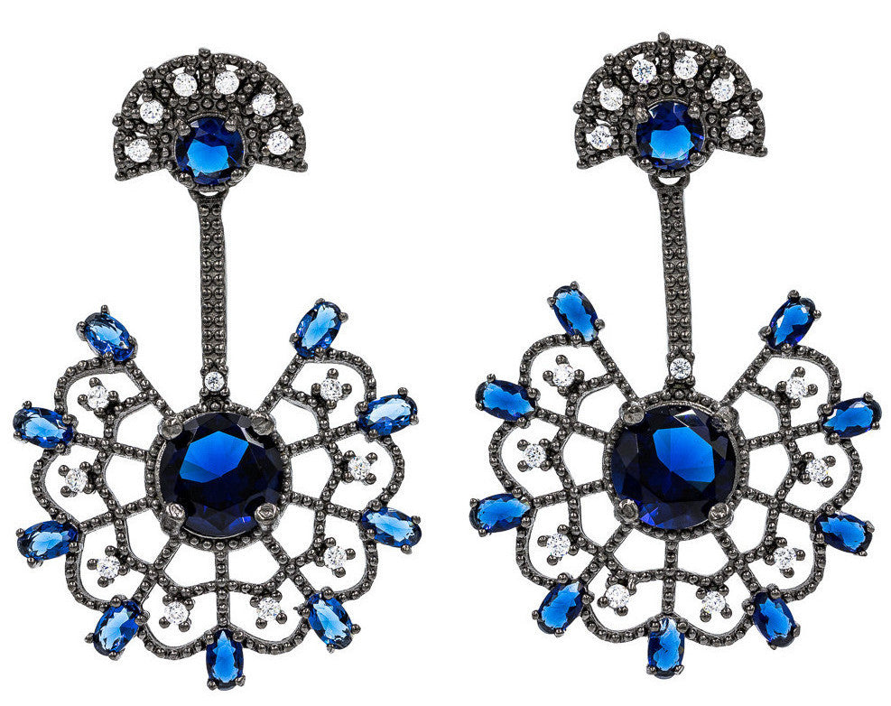 ER1898N-B  STERLING SILVER 925 BLACK RHODIUM ELEGANT BLUE SAPPHIRE  DROP CZ EARRINGS