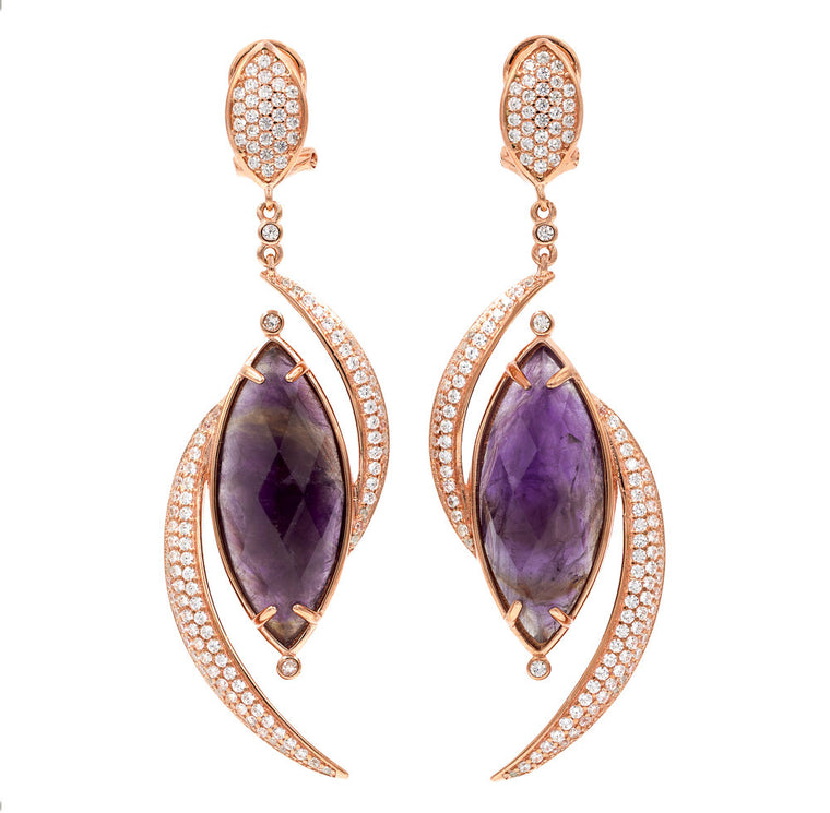ER1900P-R STERLING SILVER 925 ROSE PLATED AMETHYST WHITE CZ DROP EARRINGS