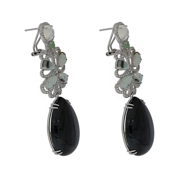 ER1906G STERLING SILVER 925 RHODIUM PLATED FINISH MOSS AGATE DROP FANCY EARRINGS