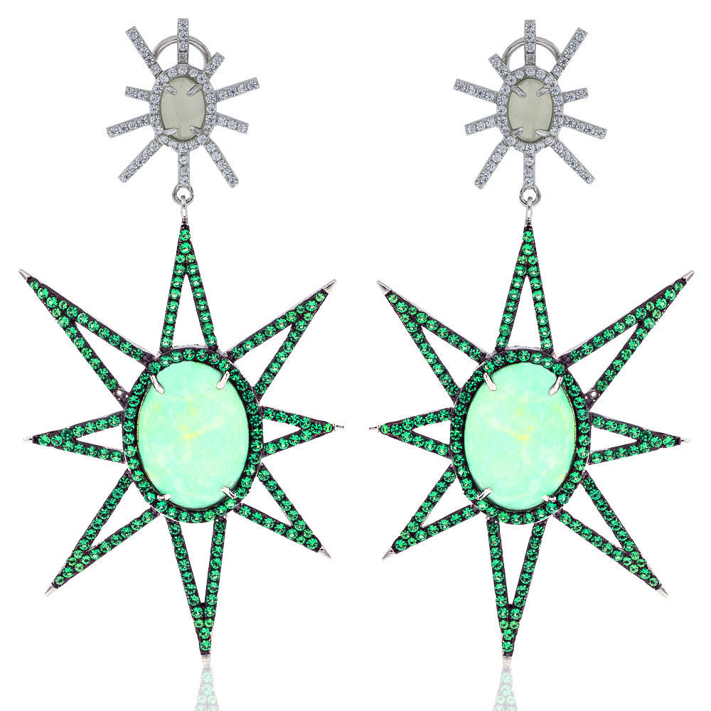 ER1921TG STERLING SILVER 925 RHODIUM PLATED GREEN TURQUOISE  DROP EARRINGS