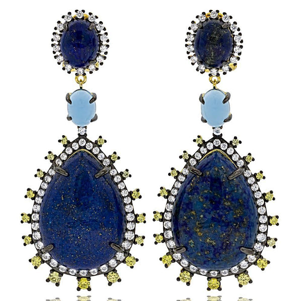 ER1923NY-BG STERLING SILVER 925 GOLD PLATED FINISH LAPIS LAZULI FANCY DROP EARRINGS